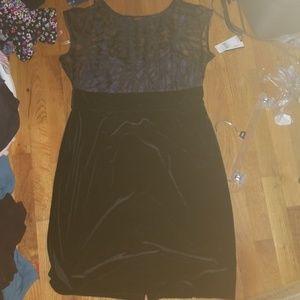 Stunning Ab Studio Black Velvet Party Dress 16 NEW